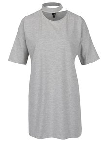 Svetlosivé oversize tričko s chokerom VERO MODA Jelica