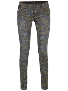 Žluto-zelené dámské vzorované kalhoty Garcia Jeans Riva