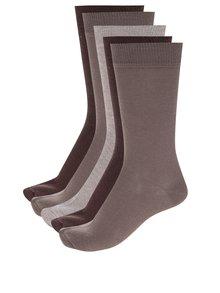 Súprava piatich párov hnedých pánskych ponožiek M&Co