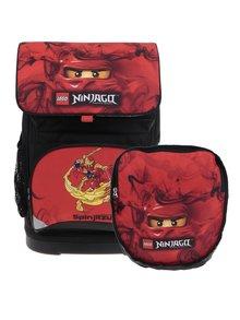 Červeno-čierna chlapčenská aktovka s batohom 2v1 LEGO Wear Ninjago Kai Small 22 l