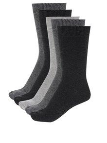 Súprava piatich párov sivých pánskych ponožiek M&Co