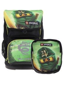 Čierno-zelená chlapčenská aktovka s batohom 2v1 LEGO Wear Ninjago Lloyd Maxi 28 l