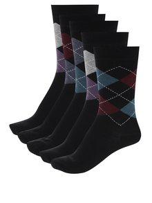 Súprava piatich párov pánskych ponožiek so vzorom M&Co