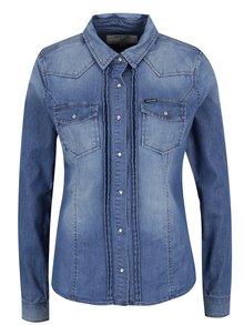 Modrá dámska košeľa s vyšúchaným efektom Garcia Jeans