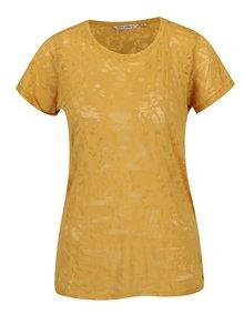 Tricou galben de damă cu model transparent Garcia Jeans