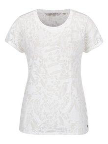Krémové dámske tričko s priesvitnými detailmi Garcia Jeans