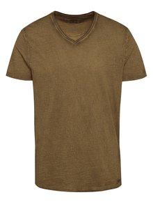 Hnědé pánské triko s véčkovým výstřihem Garcia Jeans Marco