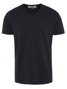 Tmavomodré pánske basic tričko s véčkovým výstrihom Garcia Jeans Remco