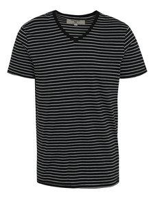 Tricou bleumarin cu dungi albe pentru bărbați Garcia Jeans Marco