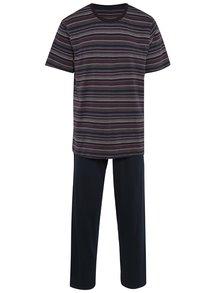 Tmavě modré pánské pruhované pyžamo M&Co