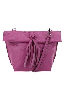 Růžová kožená crossbody kabelka/psaníčko s třásní ZOOT