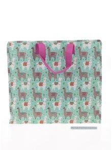 Zelená skladovacia taška s motívom lám Sass & Belle Lima Llama