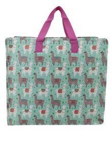 Zelená skladovací taška s motivem lam Sass & Belle Lima Llama