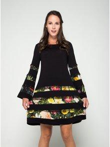 Čierne šaty s čipkovanými a kvetovanými detailmi Desigual Paloma