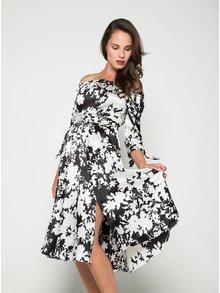 Černo-krémové šaty s odhalenými rameny Closet