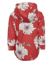 Jacheta rosie impermeabila cu print floral pentru fete Tom Joule