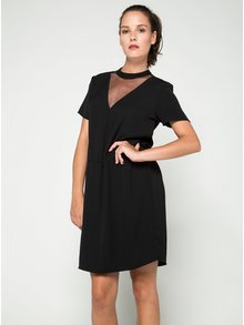 Černé volné šaty s průsvitným detailem v dekoltu VILA Meller