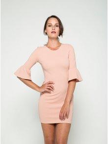 Svetloružové šaty s trojštvrťovým volánovým rukávom AX Paris