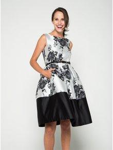 Krémovo-čierne kvetované šaty s opaskom Closet