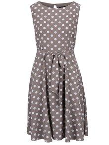 Béžové puntíkované šaty se zavazováním M&Co