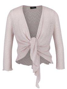 Světle růžové bolerko s třpytivým zdobením ve stříbrné barvě M&Co