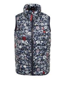 Tmavomodrá dievčenská prešívaná kvetovaná vesta Tom Joule