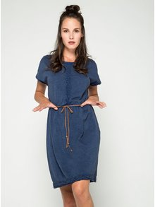 Modré šaty s krajkovými detaily a páskem VERO MODA Spirit