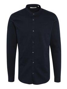 Tmavomodrá slim fit košeľa bez goliera Jack & Jones Premium Knit