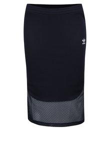 Tmavomodrá midi sukňa so sieťovanou spodnou časťou adidas Originals