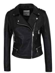 Čierna koženková bunda s výšivkou TALLY WEiJL