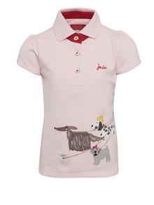 Tricou polo roz cu aplicații pentru fete Tom Joule