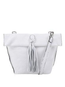 Biela kožená crossbody/listová kabelka so strapcom ZOOT