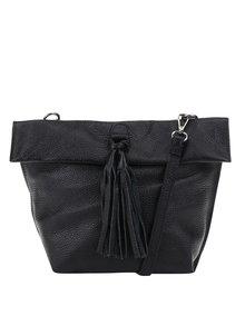 Černá kožená crossbody kabelka/psaníčko s třásní ZOOT