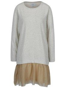 Krémové mikinové šaty so šifónovou sukňou ONLY Danila