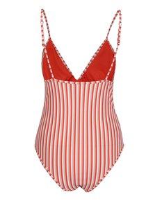 Krémovo-červené pruhované jednodielne plavky Y.A.S Cayenne