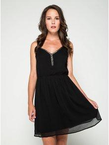 Černé šaty na tenká ramínka VERO MODA Lupe Bead