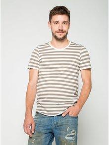 Bílo-hnědé pruhované triko Jack & Jones Insta