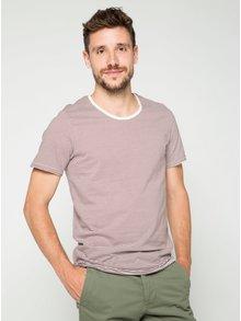 Hnědo-bílé pruhované triko s krátkým rukávem Jack & Jones Insta