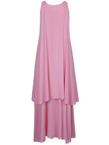 Ružové asymetrické voľné maxišaty s prímesou hodvábu Aer Wear