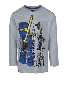 Bluză gri cu print frontal și mâneci lungi pentru băieți