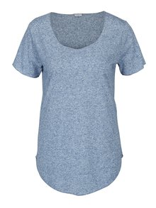 Modré melírované tričko s prímesou ľanu Jacqueline de Yong Linette