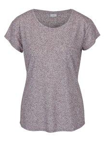 Tmavofialové melírované tričko s prímesou ľanu Jacqueline de Yong Bolette