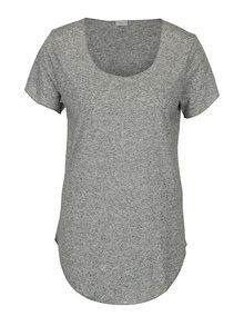 Kaki melírované tričko s prímesou ľanu Jacqueline de Yong Linette