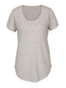 Béžové melírované tričko s prímesou ľanu Jacqueline de Yong Linette
