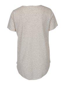Béžové žíhané tričko s příměsí lnu Jacqueline de Yong Linette
