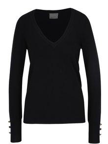 Čierny sveter s véčkovým výstrihom VERO MODA Happy
