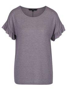 Fialové tričko s volánmi na rukávoch VERO MODA Elora