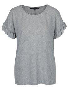 Sivé tričko s volánmi na rukávoch VERO MODA Elora