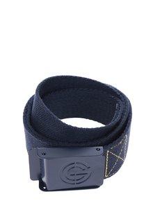 Tmavě modrý pánský pásek s detaily ve žluté barvě NUGGET Booker