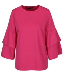Ružové tričko s volánmi na rukávoch VERO MODA Vippy